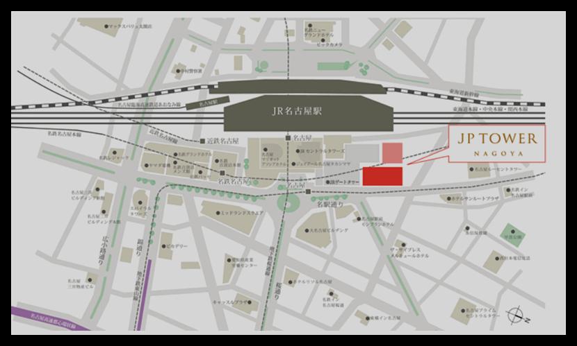 JPタワー名古屋の駐輪場の地図