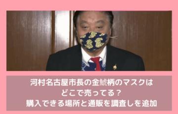 河村名古屋市長の金鯱柄のマスクはどこで売ってる?購入できる場所と通販を調査