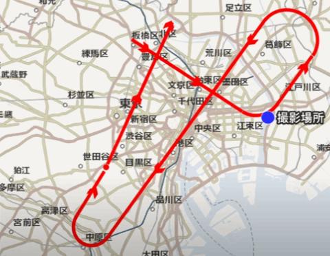 ブルーインパルス 東京都心上空を飛行 - 医療従事者等への敬意と感謝を込め飛行ルート